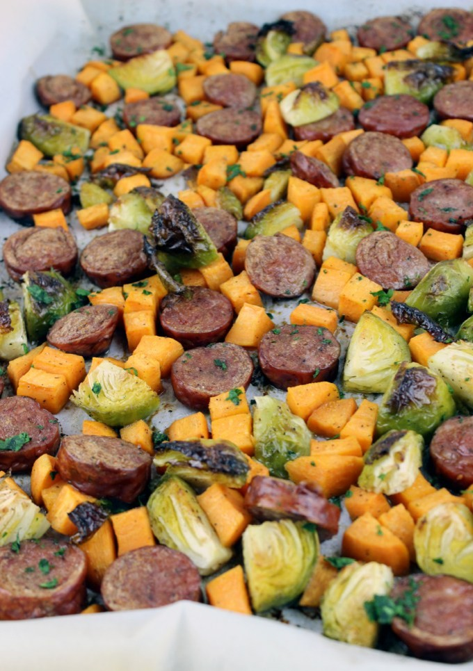 one-pan-sausage-brussels-sprouts-and-sweet-potato